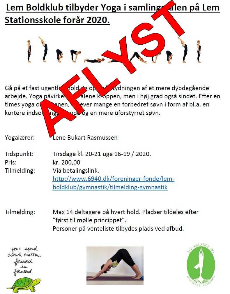AFLYST Opstart Yoga på Lem Stationsskole