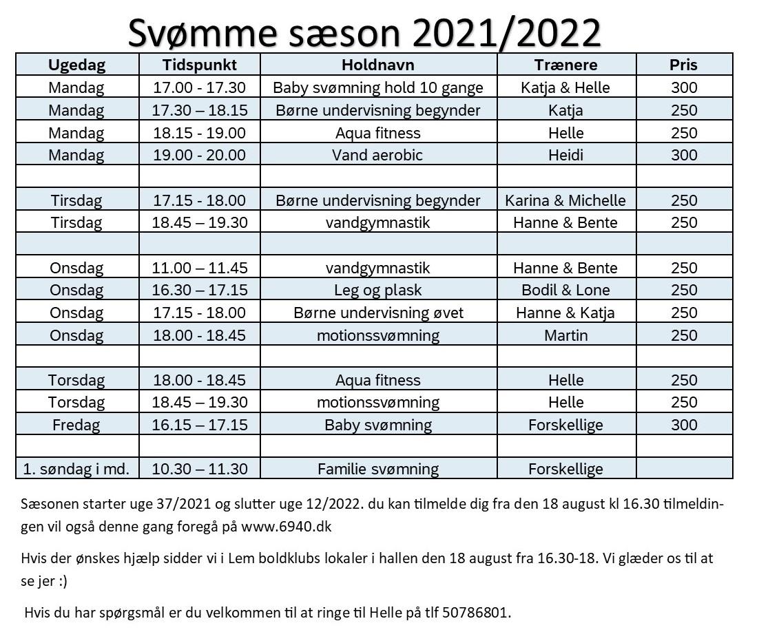 Tilmelding til svømmesæsonen 2021/2022