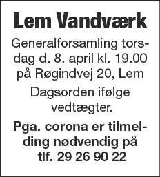 Generalforsamling Lem Vandværk